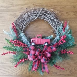 Other - Handmade Christmas buffalo plaid Truck wreath